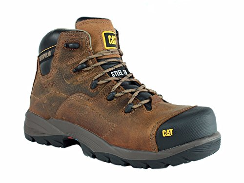 Handcrafted Casual Footwear (Caterpillar COOLANT CHI ST Steel Toe Men's Work Casual Brown Leather Boot)