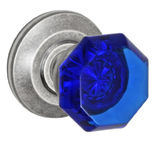(Fusion Hardware D-23-Z2-E-ATP Elite Collection Victorian Cobalt Glass Dummy Knob with Cambridge Rose, Antique Pewter)