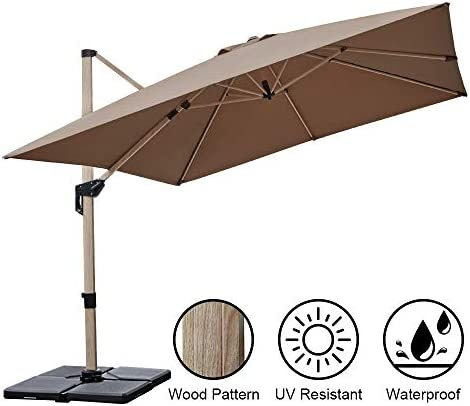 PAPAJET 10 Feet Offset Cantilever Patio Umbrella Square Deluxe Aluminum Wood Pattern Outdoor Hanging Umbrella with Cross Base, 360 Rotated, Easy Tilt Garden Umbrella Khaki
