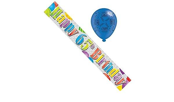 Banner y globos de fiesta de aluminio de unisex de 65 años ...