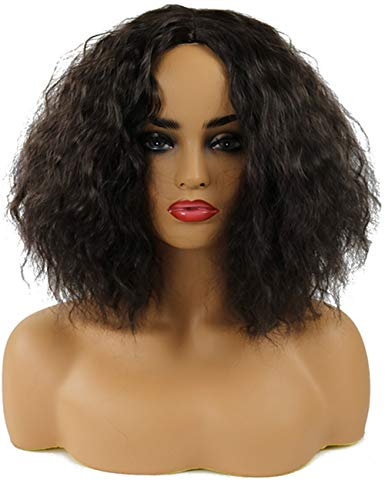 TopWigy Kinky Curly Wigs for Black Women Short Fluffy Bob Yaki Cosplay Wig Middle Part Halloween Party Wig for Women Girls (Natural Color)