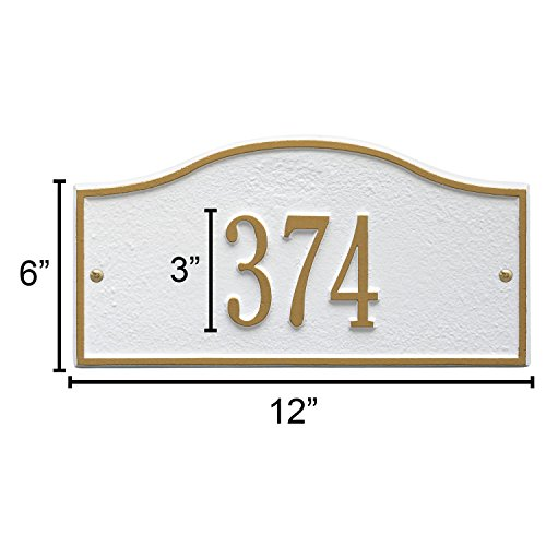 Whitehall Personalized Cast Metal Address Plaque - Small Rolling Hills Custom House Number Sign - 12'' x 6'' - Allows Special Characters - Bronze/Gold by Whitehall (Image #6)