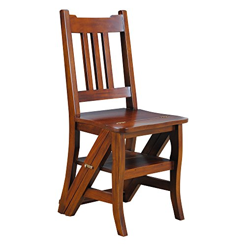 (Library Chair or Step Ladder Chair Made From Solid Mahogany)