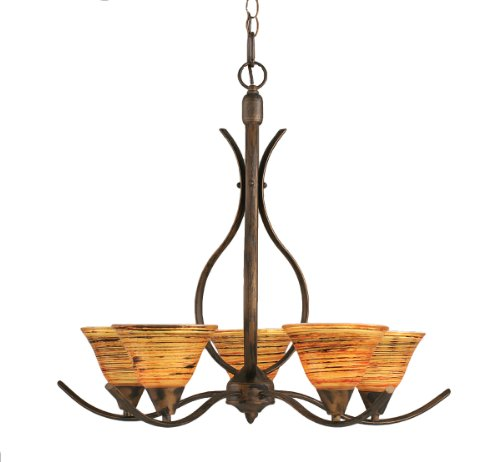 Toltec Lighting 295-BRZ-751 Swoop Five-Light Uplight Chandelier Bronze Finish with Frosted Crystal Glass, 7-Inch