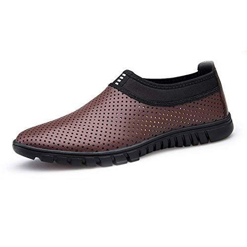 Fuxitoggo Negocios De Transpirables color withholes Zapatos Legswithbrown Casual Calzado Tamaño Huecos Hombres Verano Suaves 43 Para Cuero rwAgPrq