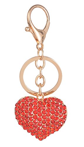 (Giftale Women's Heart Keychain,Alloy Bag Charm with Red Crysatl Car Keyring,#41817C)