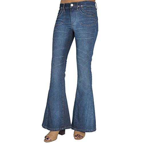 S&P Junior Women Vintage Boho Patchwork Flare Bell Bottom Jeans with Long Length