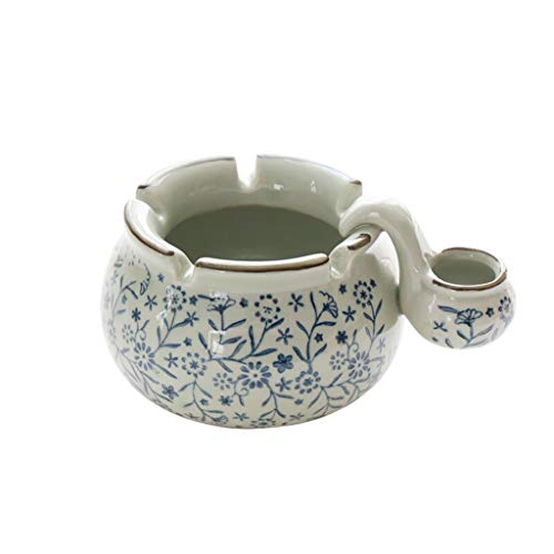 - Hand-Painted Blue and White Ceramic Ashtray Creative Large Windproof with Sink Bedroom Living Room 15.5128cm (Color : Blue)