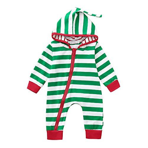 con Cerniera del Costume Invernali bambina bambino Angelof Pagliaccetto Pagliaccetti cappuccio Compleanno natalizio strisce Kids a Tailor Pigiama Verde Abiti Costume regalo xHHqS8p