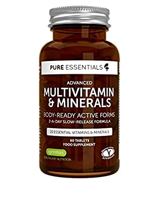 Pure Essentials Advanced Multivitamin and Minerals with Folate and Vitamins D3 and K2 | Body-ready Methylated Vitamin Forms | 2-a-day | 60 Tablets