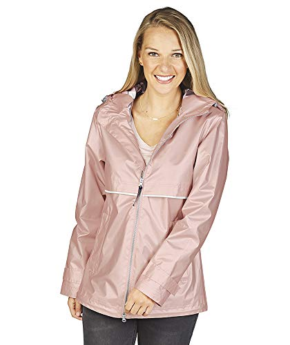 Charles River Apparel Women's New Englander Waterproof Rain Jacket, Rose Gold/Plaid, 3XL