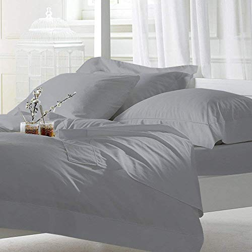 Cottington Lane 400 Thread Count Sateen Weave Sheen & Softer Feel 4 Pieces Bed Sheet Set 100% Cotton Super Finish fit Mattress up to 15 Inches deep Pocket (RV-King, Light Grey) by Cottington Lane