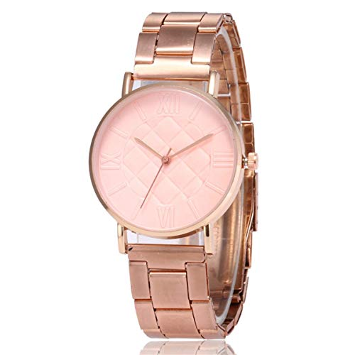 (SC206 Solid Color Roman Scale Diamond Lattice Rose Gold Quartz Watch Casual Fashion Women Quartz Watch Best Gift)