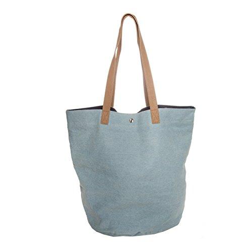 Denim 100 Mujer Para Azul Claro Codello Al 55x44x38cm cotton Hombro Bolso w80ndEP1q