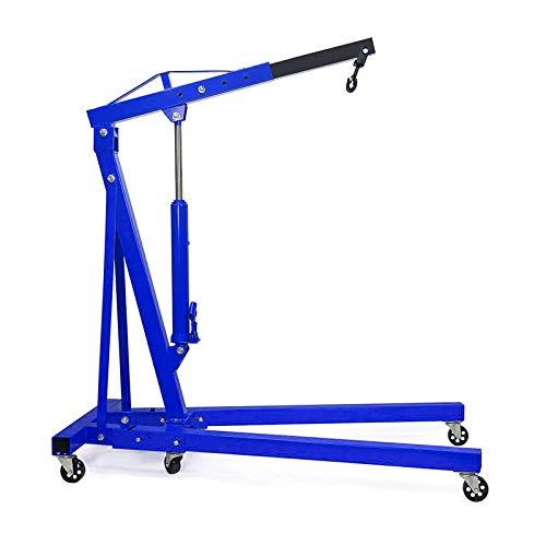 Qivange Folding Engine Crane 1 Tonne Hoist Lift Jack With Wheels Blue