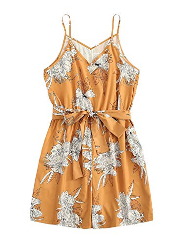 (Romwe Women's Plus Size Floral Print Loose V Neck Romper Belted Jumpsuit Yellow 3XL)