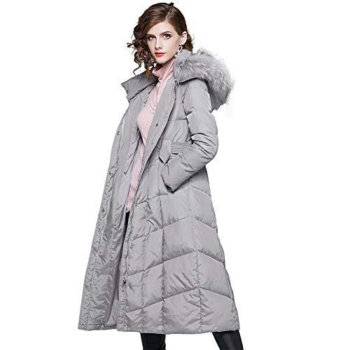 Women's Down Jacket Hooded 2018 Winter 90% White Duck Down Fashion Thickened Over Knee Long Gray Coats,Gray,M