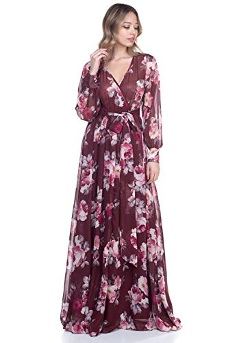 RICARICA Chiffon Maxi Dress (Burgundy Rose, L)