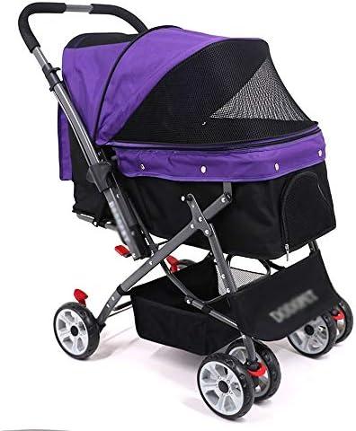 折りたたみ犬のカーショックアブソーバ取り外し可能なクリーニング4輪猫アウトドアトラベルトロリー (Color : Purple)