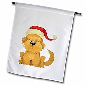 3dRose fl _ 35870_ 1Santa perro bandera de Jardín, 12por 45,72cm
