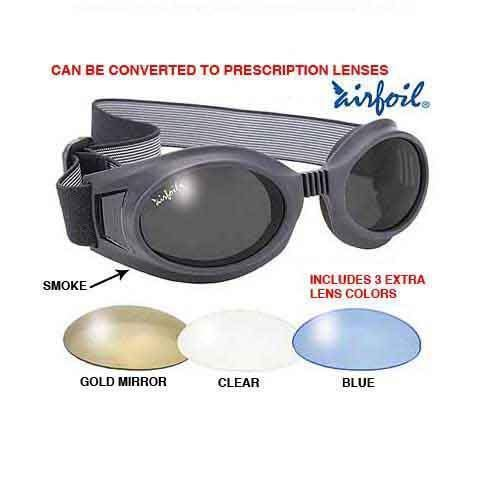 Pacific Coast Airfoil Black Goggles with Interchangeable Polycarbonate Lenses - One Size