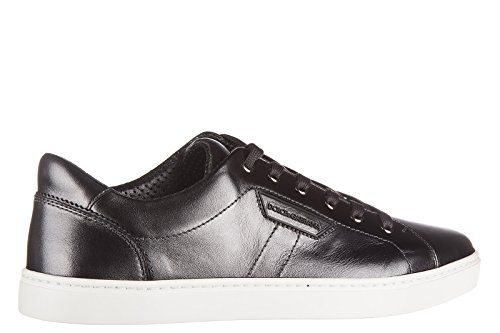 Dolce & Gabbana Mens Shoes Leather Trainers Sneakers Mordore Black WhjHGXRByJ