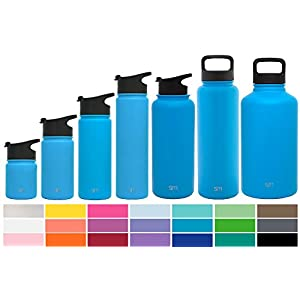 Simple Modern 14oz Summit Water Bottle + Extra Lid - Vacuum Insulated Stainless Steel Wide Mouth Hydro Travel Mug - Kids Double Wall Small Flask - Sky Blue