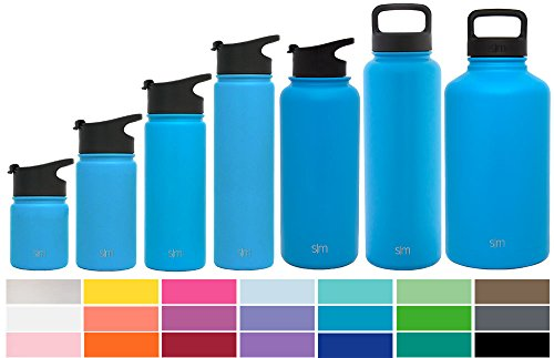 Simple Modern 64oz Summit Water Bottle + Extra Lid - Vacuum Insulated Stainless Steel Big Wide Mouth Hydro Travel Growler - Powder Coated Double Wall Large Flask - Sky Blue