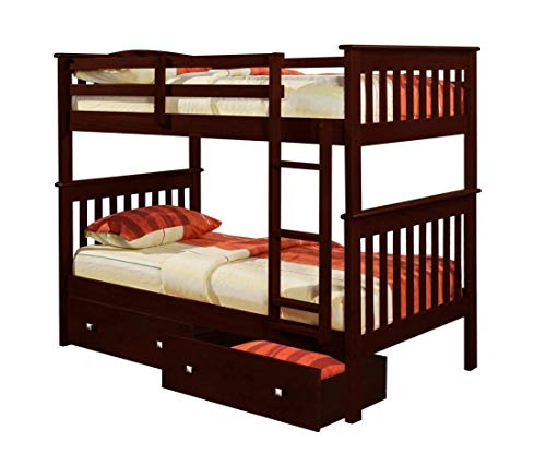 Donco Kids Mission Bunk Dual Under Bed Drawers, Twin, Dark Cappuccino