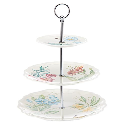Lenox Butterfly Meadow Melamine 3 Tiered Server, White Meadow Round Serving Plate