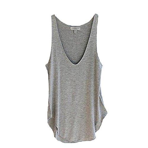 Flank Woman Fashion Summer Sleeveless V-Neck Candy Color Tank Tops (Gray)