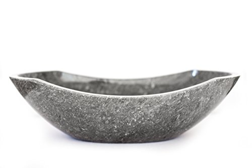 Polished Marble Bathroom Vessel Sink, Oval Canoe Shape, 100% Natural Stone and Hand Carved (Gray Marble ()
