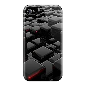 Icw830DKLc Tpu Phone Case With Fashionable Look For Iphone 4/4s - Black 3d Blocks