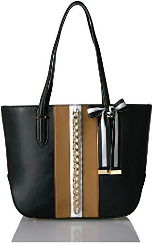 Nine West Reana Large Tote, Dark Camel/Black/White