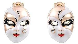 Bishilin 18 K chapado en oro pendientes del perno prisionero de Cristal austríaco de máscara de mujer de oro rosa
