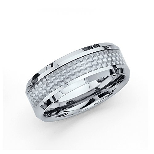 (Wellingsale 8MM Comfort Fit Wedding Band Ring with Sporty White Grey Carbon Fiber Inlay and Diamond Beveled Edges - Size 12.5)
