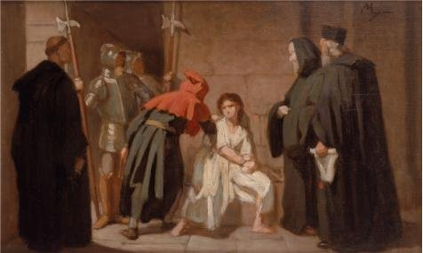 Rock Star And Diva Long Gloves (Oil Painting 'Inquisition,before 1872 By Edouard Moyse' Printing On Polyster Canvas , 8x13 Inch / 20x34 Cm ,the Best Laundry Room Decor And Home Gallery Art And Gifts Is This Vivid Art Decorative Canvas Prints)