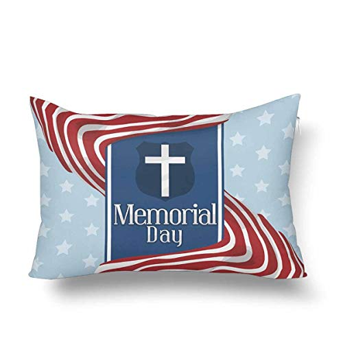 ooPIN Memorial Day with Stripped Flags Blue Ribbon Shield Fallen Military Heroes Pillow Cases Pillowcase, Rectangle Pillow Covers Protector for Home Couch Sofa Bedding Decorative