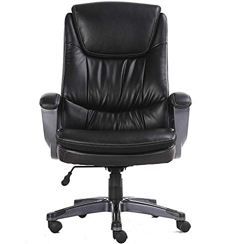 Halter HAL-065 Executive 100% Cow Grain Leather Office Chair, Home & Office Computer Desk Chair, w/Nylon Coated Base, Arms & Padded Arm Rests 28.5