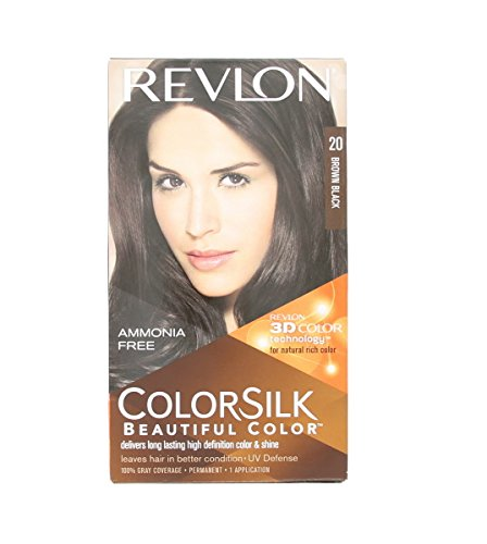 Revlon ColorSilk Hair Color, 20 Brown Black 1 ea (Pack of 9)