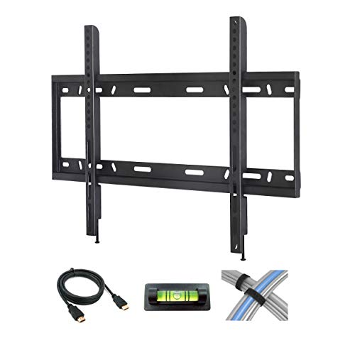 Low Profile Fixed TV Wall Mount for 42-90 Flat Screen TVs with 6 HDMI Cable, Cable Ties and Leveler