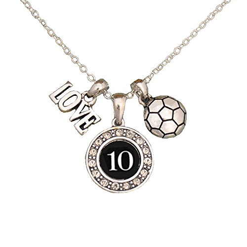 MadSportsStuff Custom Player ID Soccer Necklace (#10, One ()