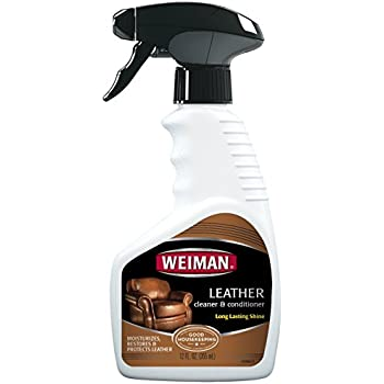 Weiman Leather Cleaner & Conditioner - Gentle Formula Cleans, Conditions and Restores Leather Surfaces – UV Protectants Help Prevent Cracking or Fading of Leather Sofas, Car Interiors, Shoes, Purses and More - 12 fl. oz.