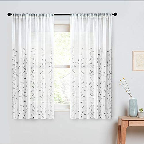 MRTREES Embroidered Sheer Curtains Living Room Bedroom Tiers 45 inches Long Tier Curtain Panels Leaves Embroidery Pole Pocket Window Treatment 2 Panels Grey Leaves