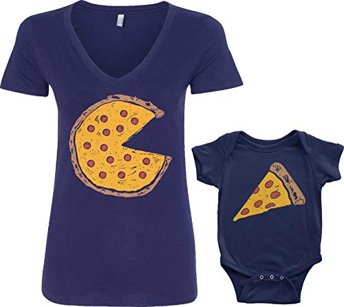 (Threadrock Pizza Pie & Slice Infant Bodysuit & Women's V-Neck T-Shirt Set (Baby: 6M, Navy|V-Neck: XL, Navy))