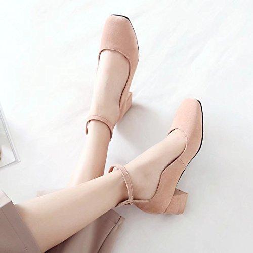 AIYOUMEI Damen Chunky Heels Pumps mit Knöchelriemchen und 5cm Absatz Blockabsatz High Heels Schuhe Rosa