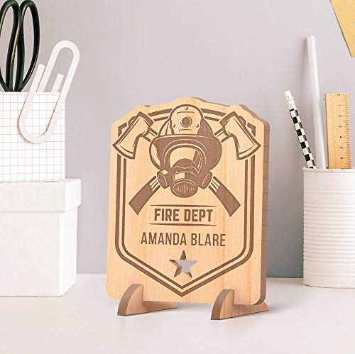 Center Gifts Personalized Fire Department's Member Name Wooden Card feat Face Mask