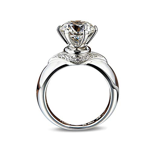 AMDXD Jewelry 925 Sterling Silver Ring Band Six Claw Created Diamond Anniversary Rings Size 6