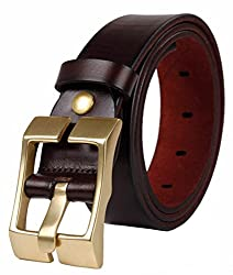 Galsang Genuine Leather Belts Men's Square Pin Buckle Belts#tr2000 (43 in, Dark Coffee)