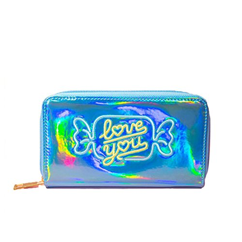 Long Hologram Laser Purse Card Women Clutch Wallet Blue PU Leather Holder Color Bifold Zax1dI